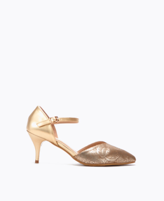 gold heel pump with baroque detail