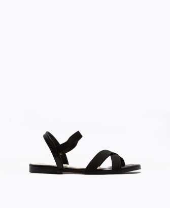 Elastic Heart Crossover Flat Sandals
